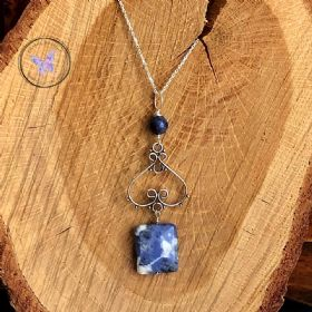 Sodalite Silver Pendant Necklace